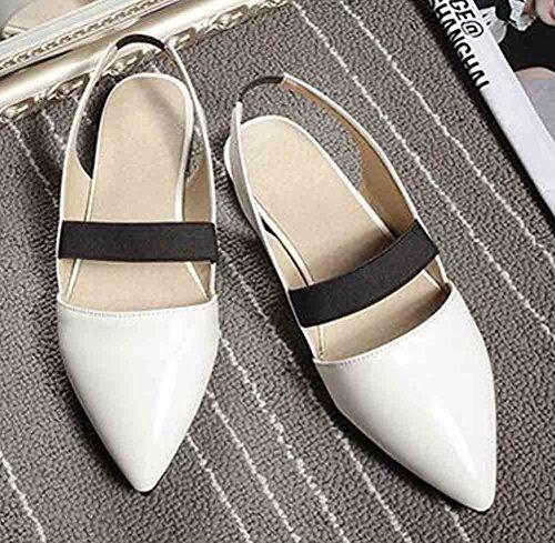 on No Patent Women's Sandals Aisun Toe Red Heel Pointed Slip White 8axRw