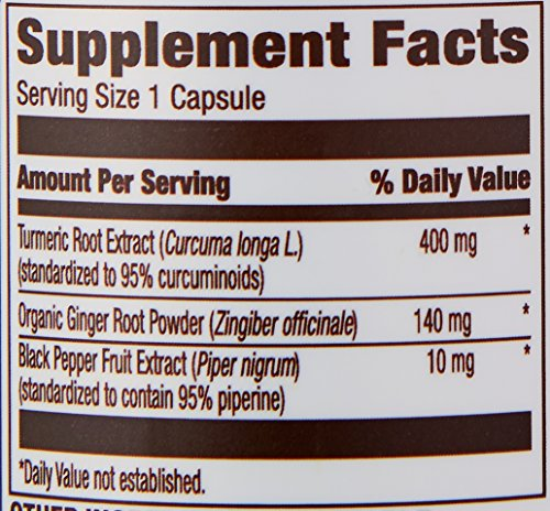 61BFIcmZHDL - Amazon Elements Turmeric Complex with Black Pepper and Ginger, Curcumin Supplement, 65 Capsules