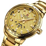 Golden Stainless steel Calendar Mens Watch