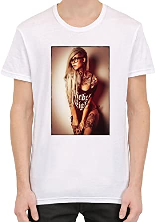 6bfe60775194 BimBamTees Sexy Rebel Inked Girl Custom Printed T-Shirt For Men | 100%  Superior