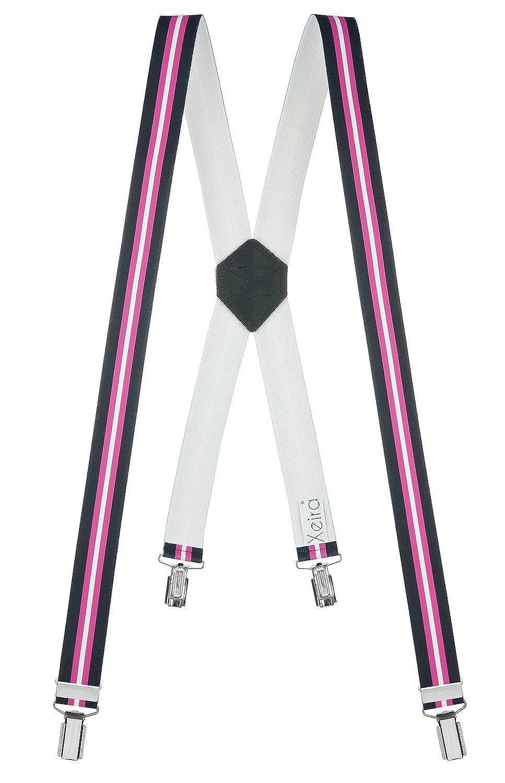 Xeira Hochwertige Uni & Neon Hosenträger - X Design mit 4 Soliden Clips und Echt Leder - Made in Germany- Schwarz/Braun / Beige/Weiß / Blau/Grau