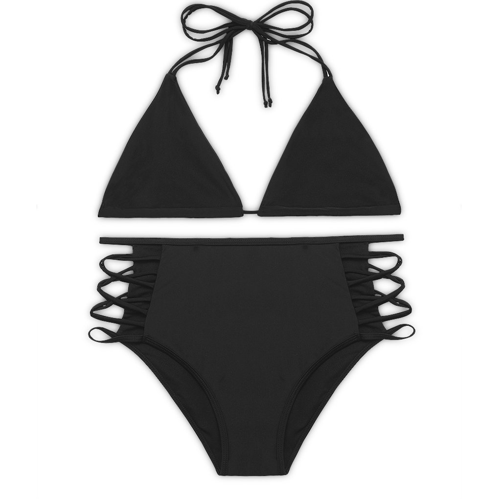 Sexybody Women's Halter Padded Hollow Out High Waisted Bikini Solid Color Swimsuits Swimwear (XXL(US 10-12), Black)