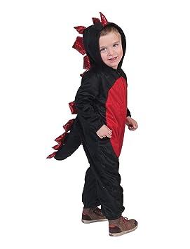 Disfraz de dinosaurio negro y rojo niño Halloween 6 a 8 años ...