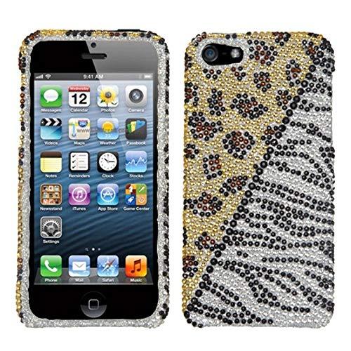 Zebra Full Rhinestones Snap - Insten Leopard/Zebra Rhinestone Diamond Bling Hard Snap-in Case Cover Compatible with Apple iPhone 5/5S/SE