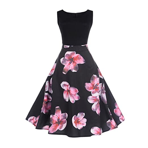 Tsmile Clearance Women Vintage Printing Bodycon Swing Dress Sleeveless Evening Party Prom Dress