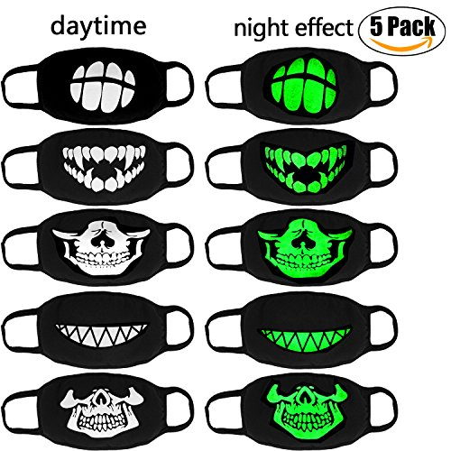 Luminous Mouth Mask,Aniwon 5 Packs Antidust Face Mask Halloween Party Cosplay Cotton Maskskeleton Mouth (Cool Halloween Mask Designs)