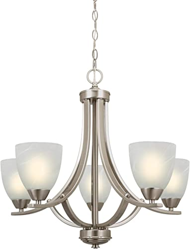 Kira Home Weston 24″ Contemporary 5-Light Large Chandelier Alabaster Glass Shade