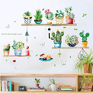 BNLS Cactus Succulent Plants Wall Decor Decal,36pcs Cactus Green Plants Pastoral Style Wall Stickers,Vinyl Removable Art Wall Decals for Living Room Home Decoration Birthday Gifts for Women Girl