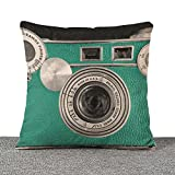Throw Pillow Cover, Decorative Pillowcase Vintage Cotton Linen Cushion Throw Pillow Cases Couch Covers Decoration for Living Room, Bedroom 18 x 18 inch (Camaera.0)