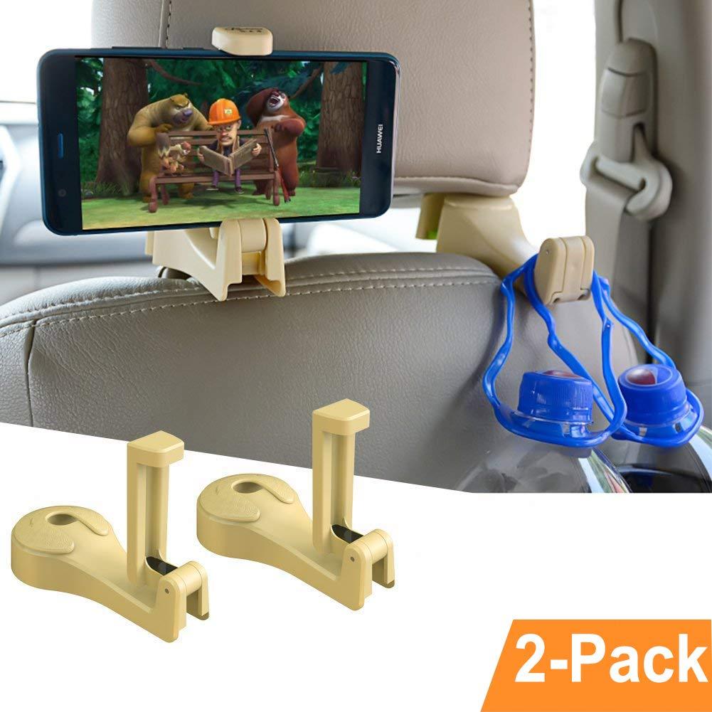 Auto-Kopfstü tzen-Haken,OCUBE 2 in 1 Auto-Haken Auto-Aufhä nger mit Telefon-Halter (2 Stü ck),Universal-Fahrzeug-Auto-Sitz-Haken-Halter mit Handy-Halterung fü r Handtasche, Geldbeutel, Kleidung (Beige)