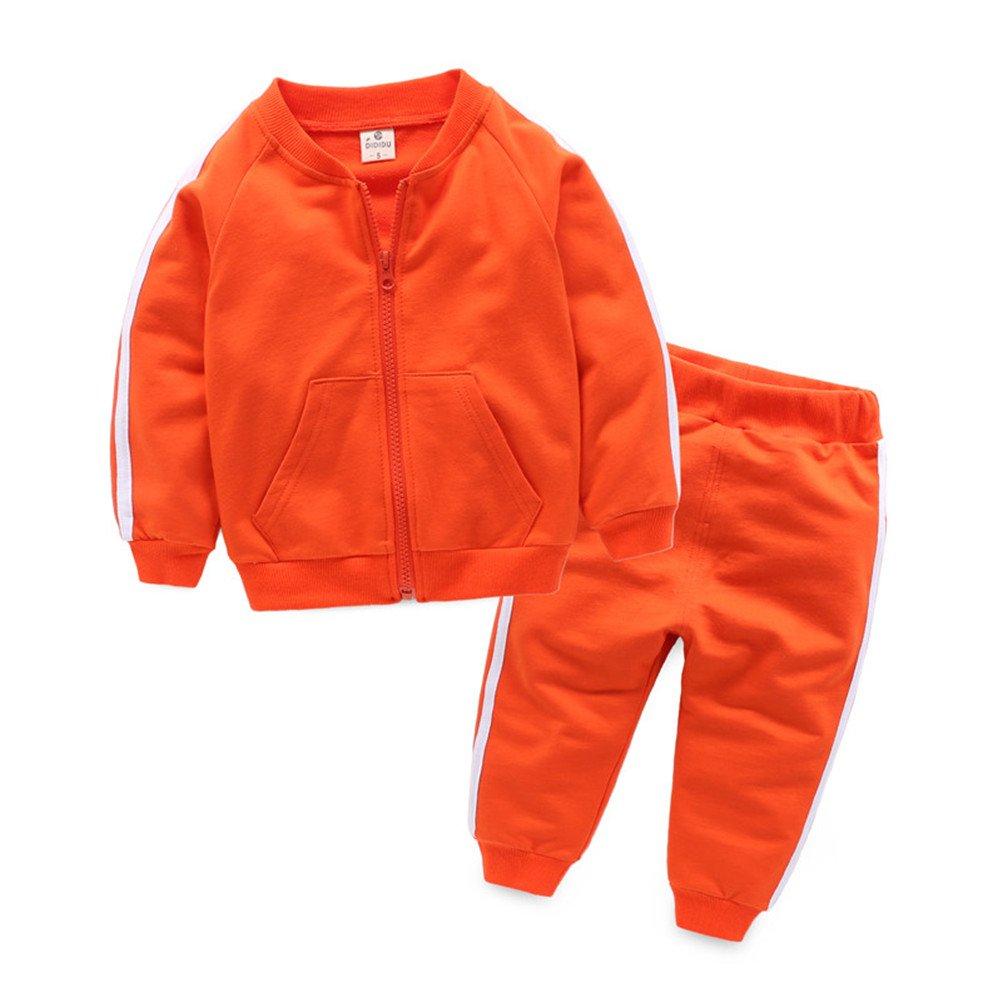 UWESPRING Baby Boy Cotton Tracksuit Boys' Jogging Sets Coat+Trousers 3T Orange