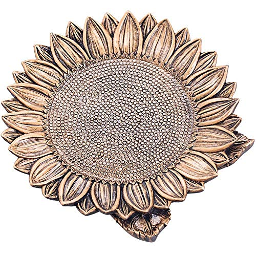 (Jewelry Trinket Dish Tray, Bronze Resin Cactus Sunflower Jewelry Storage Dish Snack Cake Plates Ring Earrings Tray Decoration Crafts Gifts Home Decor | Sunflower)