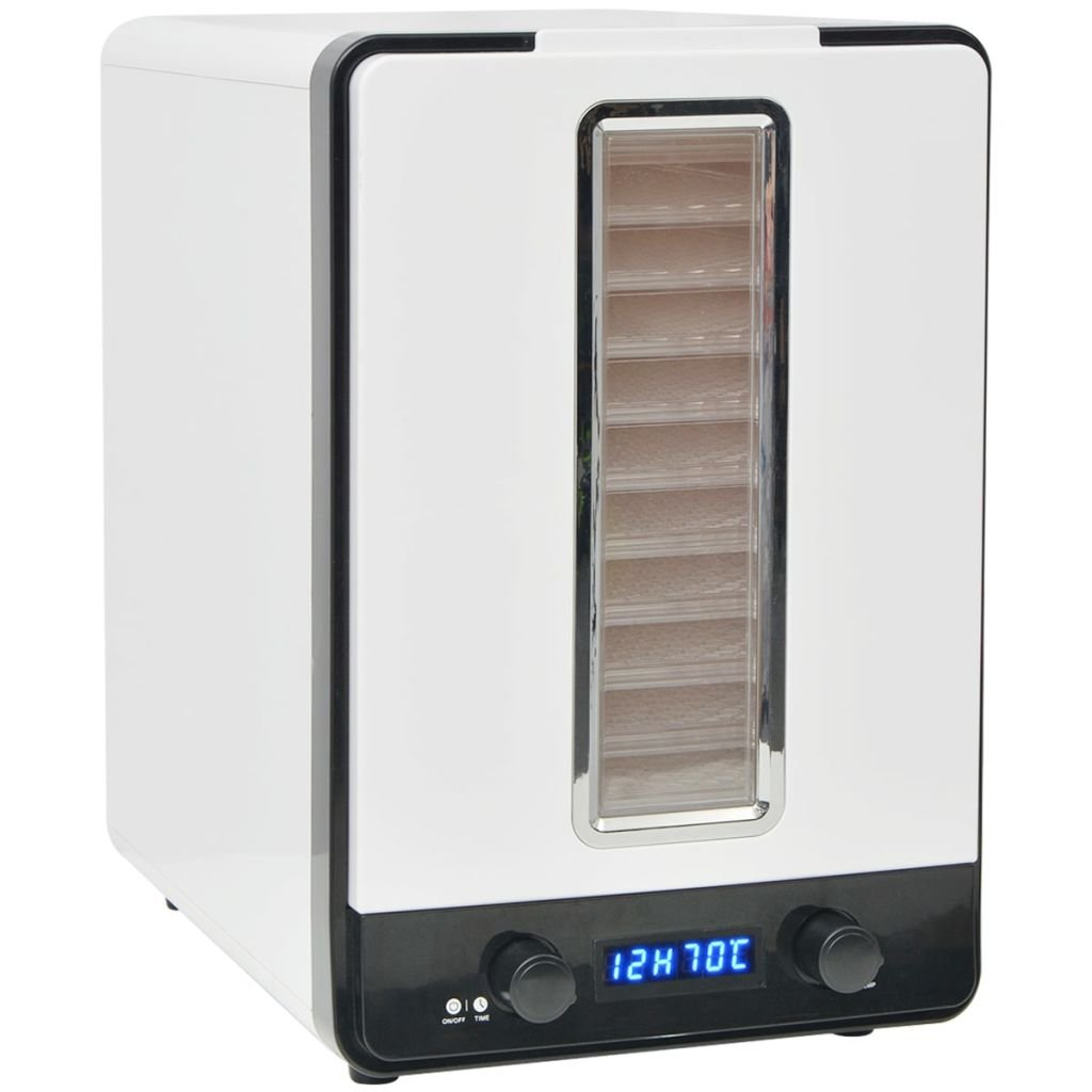 vidaXL Disidratatore Essiccatore Alimentare da Cucina con 10 Vassoi 550 W Bianco SAFERS-HÜLLE-2926