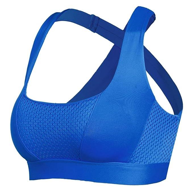 MagiDeal Sujetador Deportivo Desmontable para Mujeres Ropa Interior de Ejercicio Yoga - Azul, S