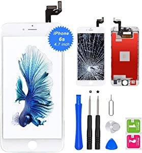 "QTlier iPhone 6s Screen Replacement 4.7"" White,LCD Display & Touch Screen Digitizer with 3D Touch Frame Assembly Set for iPhone 6s 4.7 inch with Repair Tool kit"