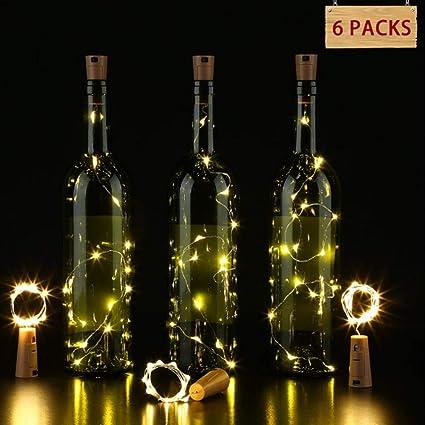 KOBWA 15 luces LED de corcho para botellas de vino, 6 unidades, funciona con