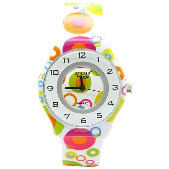 Willis - Reloj Analógico para Niñas Chicas Aprendizaje Educativo Reloj Deportivo con Correa de Silicona Estampado Infantiles - Color 4: Amazon.es: Relojes