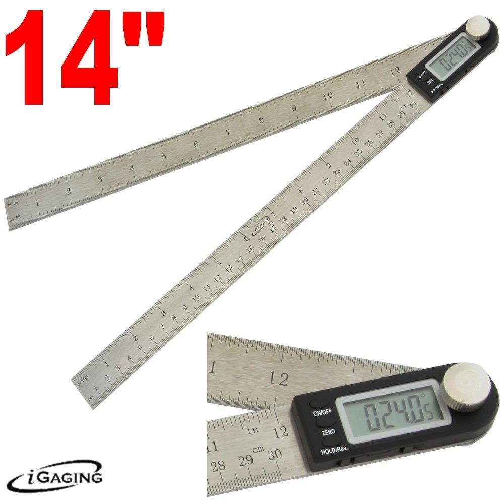 Igaging 14' 350mm 360 Degree Digital Angle Rule Ruler Finder Protractor 2 in 1
