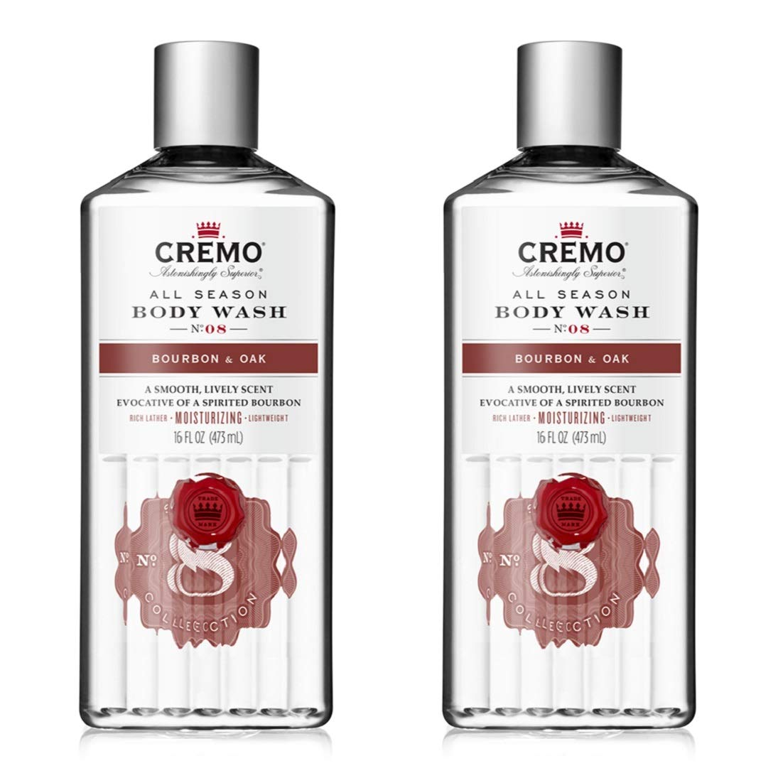 Cremo Rich-Lathering Body Wash A Sophisticated Blend of Distiller's Spice, Fine Bourbon and White Oak, 16 Oz, (2-Pack)
