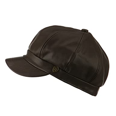 e49ea1b34ab Amazon.com  Faux Leather Spitfire Newsboy Cap Hat (Brown)  Clothing