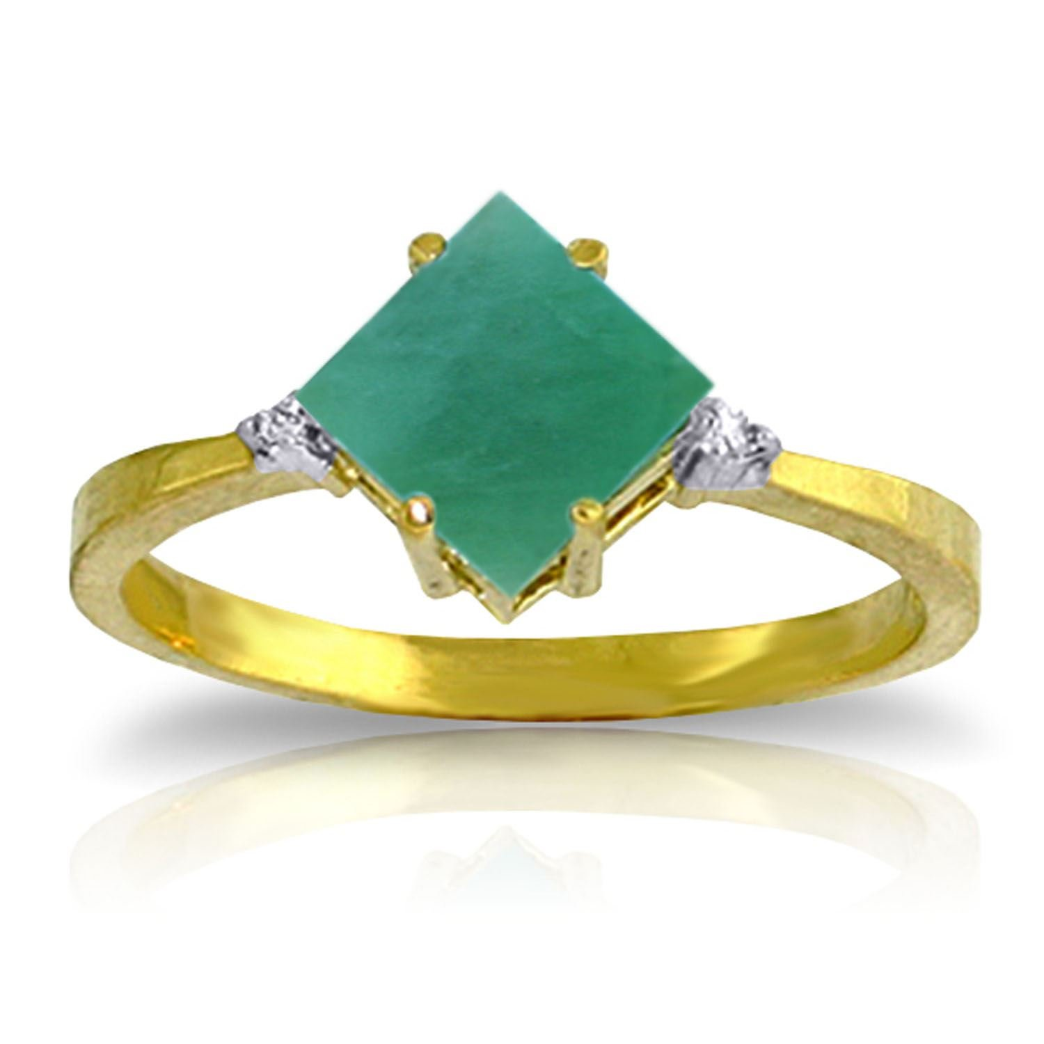 ALARRI 1.46 Carat 14K Solid Gold Love In A Frame Emerald Diamond Ring With Ring Size 9
