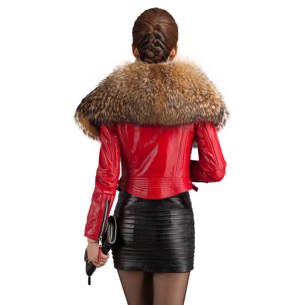 Fur Story 14193 para Mujer Corto Genuino Cuero de Oveja Abrigo Collar De Piel De Mapache Rojo 46: Amazon.es: Ropa y accesorios