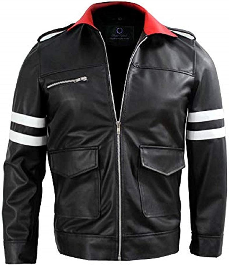 Men/'s Chittari Leather Jacket with Red and White Stripes Chase Squad Stylish Faux Leather Jacket Men