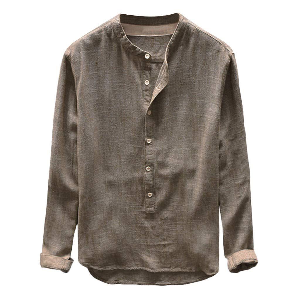 ZEZKT Herren-Hemden Stehkragen Langarm-Hemd, Langarm-Shirts für Männer, Mode Herren Top Frühling Herbst Button Casual T-Shirts Leinen und Baumwolle Langarm Bluse L-4XL