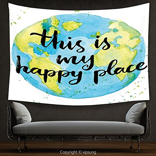 House Decor Tapestry Quote Cartoon Like World Print in Blue and Green with This is My Happy Place Lettering Multicolor Wall Hanging for Bedroom Living Room Dorm