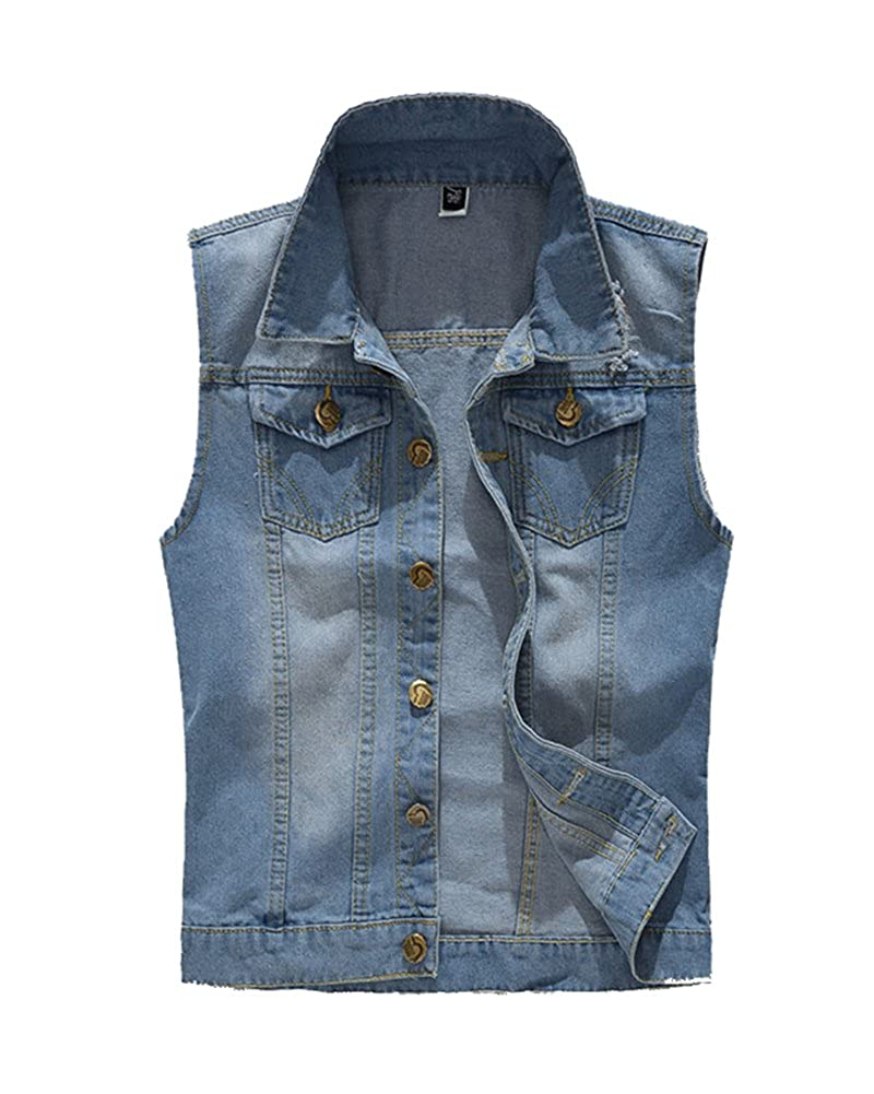Men'S Casual Sleeveless Cowboy Denim Vest Waistcoat Jean Gilet Jacket Vest Top Outerwear