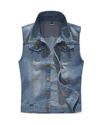 86ef6c65d6d31 Homme Veste Jeans Vintage Retro Casual Veste en Denim sans Manche Gilet Jean  Veste Cowboy Blouson