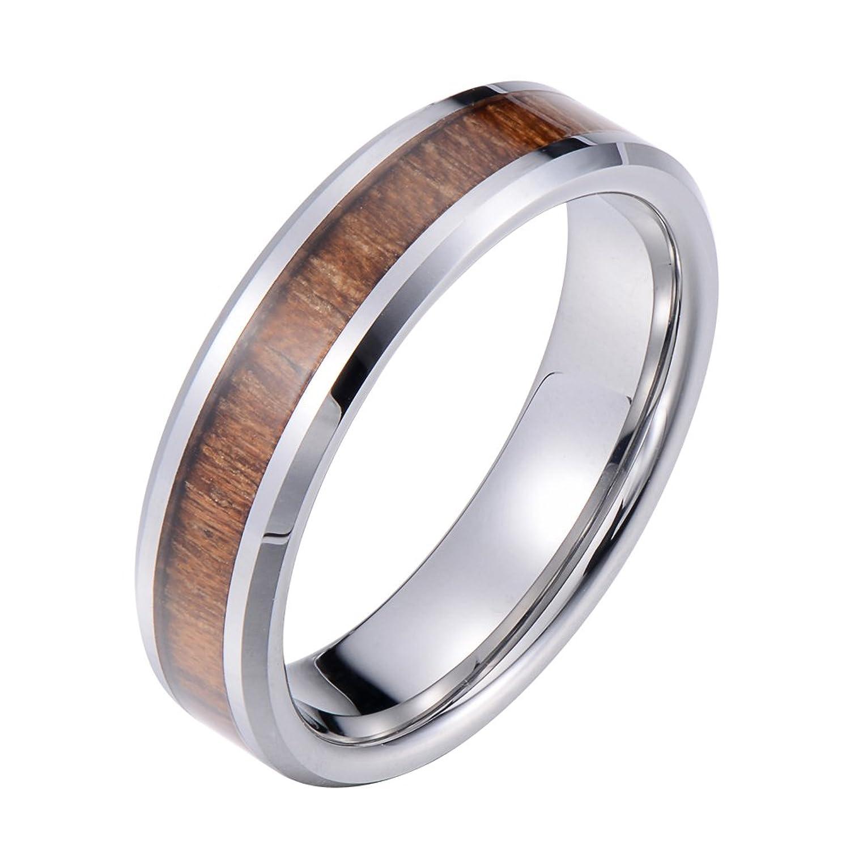 Tiitc Wedding Band Tungsten Carbide Ring Real Koa Wood Inlay