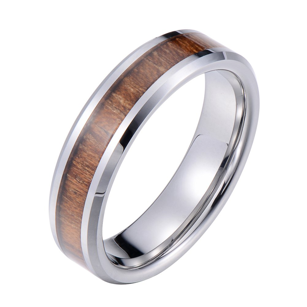 Tiitc Wedding Band Ring Tungsten Carbide Ring Real Koa Wood Inlay Beveled High Polisfed Edge Comfort Fit 6mm (9.5)