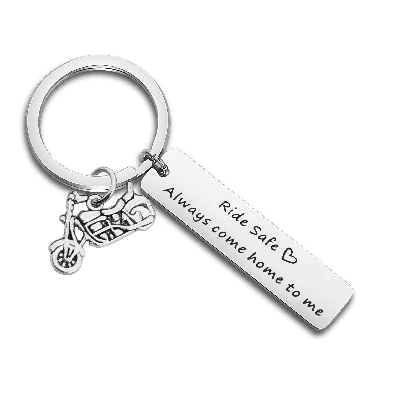 Lywjyb Birdgot Ride Safe Keychain Ride Safe Always Come Home to Me Motocycle Keychain (Ride Safe Keychain)