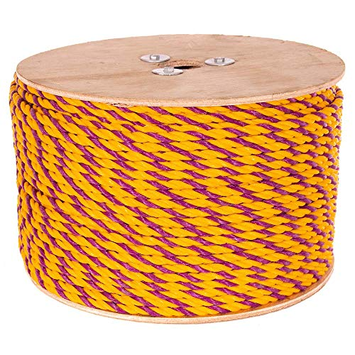 Golberg Twisted Polypropylene Rope – 1/4, 5/16, 3/8, 1/2, 5/8, 3/4, 1, 1-1/4, 1-1/2 and 2 Inch Diameters – 10-1200 Foot Lengths – Resistant to Moisture, Chemicals, Oil, and Rot – Marine, Nautical by GOLBERG G (Image #1)