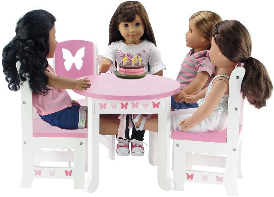 Emily Rose 18 Inch Doll Furniture | Lovely Pink and White Table and 4 Chair Value Pack Dining | Fits American Girl Dolls (Butterfly Theme)
