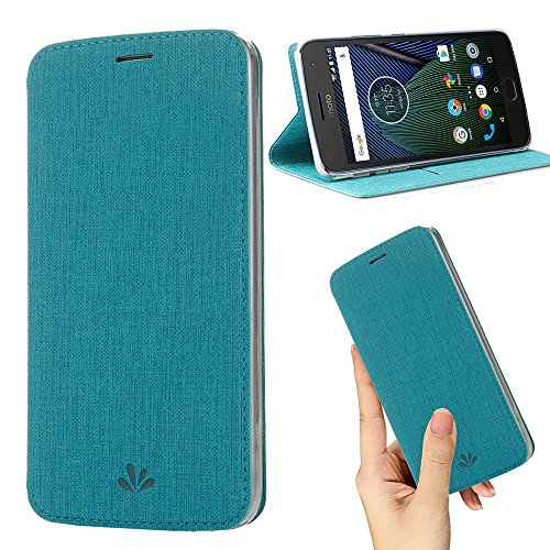 Motorola Moto G5s Plus Case,Premium Flip Leather Wallet Case Stand Kickstand Card Slot Magnetic Closure Full Body Protective Cover Clear TPU Bumper Thin Case for Moto G5s+ (Blue)