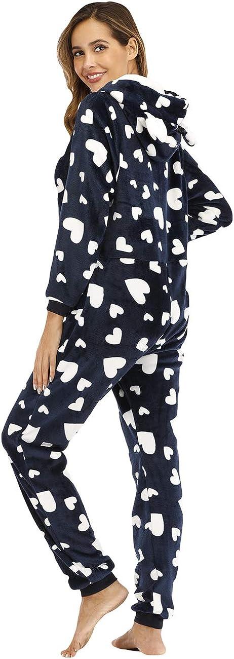 besbomig Morbido Pigiama Intero da Donna Onesie Pigiama con Cappuccio Caldo Homewear Casual Monopezzo Tuta Jumpsuit Nightwear