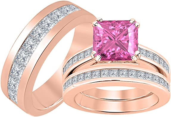 tusakha 14K Rose Gold Plated 925 Sterling Silver Princess Yellow Sapphire Mens Wedding Band Ring