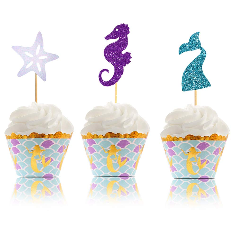 Mermaid Cupcake Toppers & Wrappers - Mermaid Party Supplies |Glitter Design| Perfect for Mermaid Theme, Under the Sea Theme Baby Shower, Birthday Party - 50 Pcs