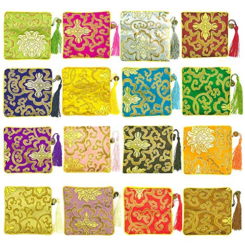 (NHW 16pcs traditional brocade bag embroidery bag jewelry bag Shu Jin fringed Wallet Zipper jewelry bag value set (24))
