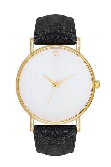 Reloj de pulsera para mujer, estilo minimalista, color negro, blanco y dorado: Amazon.es: Relojes