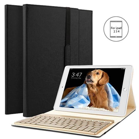 BORIYUAN Ipad 4 Ipad 3 Ipad 2 Bluetooth Tastatur Hülle, Stand Folio PU Hülle mit 7 Farben hinterleuchtet abnehmbare Wireless