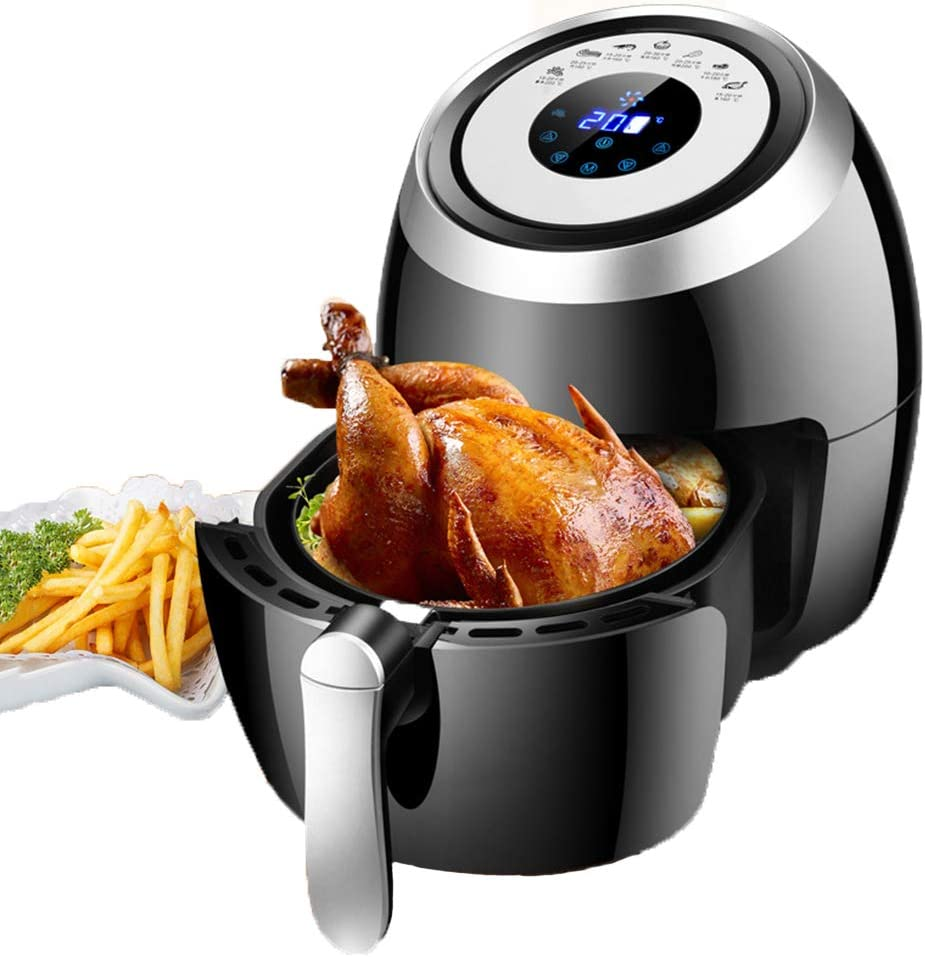 LUSHUN 3.6L Digital Air Fryer with one-Touch Digital Controls, 7 Easy presets, Precise Temperature Control, Recipe Book, Basket Divider, Personal Compact Healthy Fryer w/Adjustable
