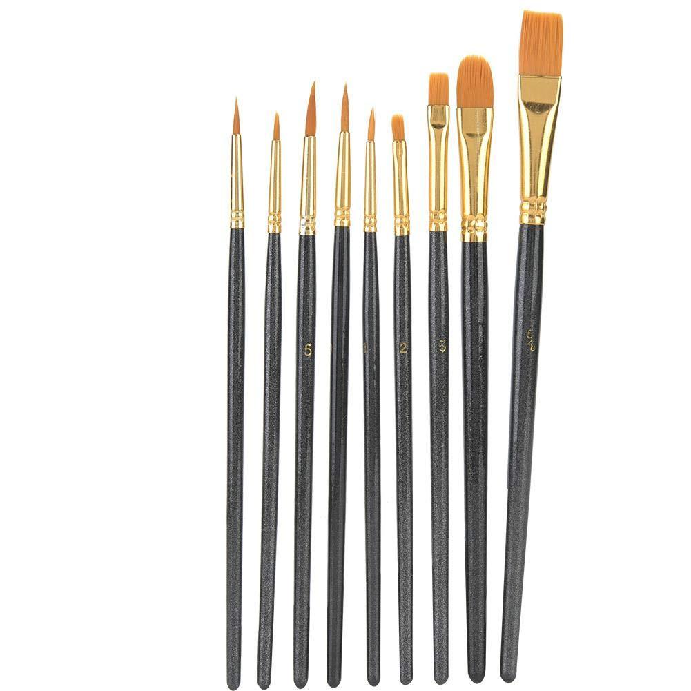 10pcs Brosses Pinceaux Peinture Ensemble /à Cheveux en Nylon Manche en Bois Art Gouache Dessin Outil de Peinture