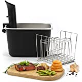 Stainless Steel Sous Vide Container and Rack Kit 12qt, Charcoal, Suits Anova, Nano, Joule and all other Sous Vide Circulators - by Artisans Hearth Cookware