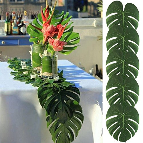 Artificial Monstera Leaves 48pcs-Large Tropical Leaves Decorations 14''x12'' Palm Tree Leaves for Luau Party Decor Jungle Party by PartyDelight (Image #1)