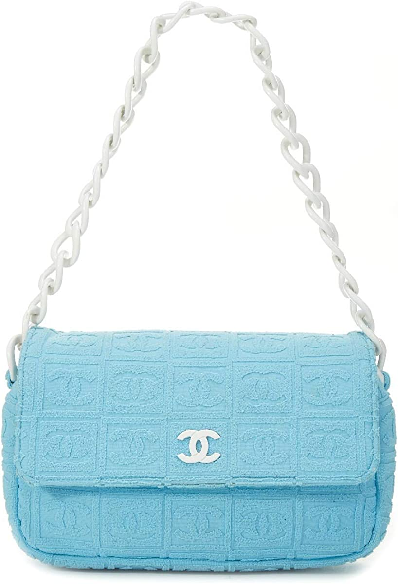 CHANEL Sky Blue Terry Cloth Sport Line Flap Bag (Pre-Owned)