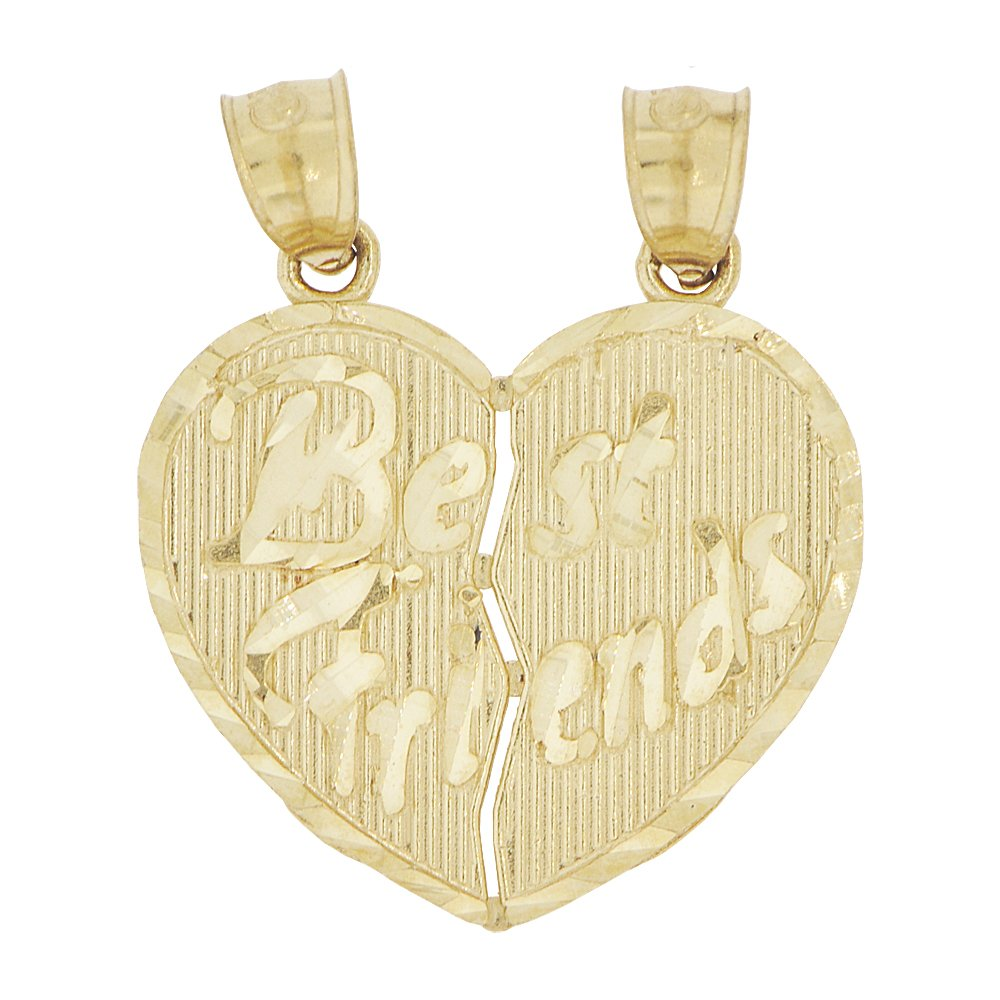 14k Yellow Gold, Sharing Heart Pendant Charm Best Friends One Charm Splits in Two by GiveMeGold