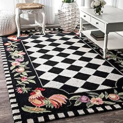 nuLOOM Homespun 3-Feet 6-Inch by 5-Feet 6-Inch Rooster, Black